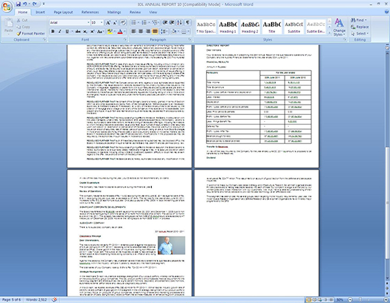 Final Word document with formatted tables and paragraphs