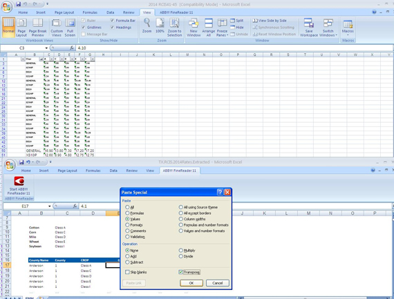 Copy the data from Excel file and paste to required template