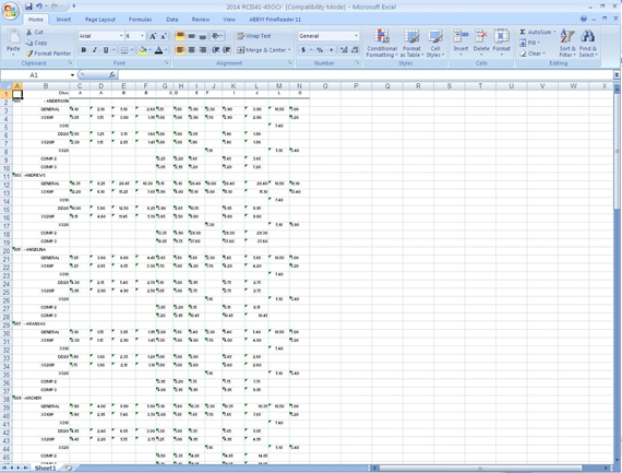 The unformatted output file in the PDF to Excel conversion process
